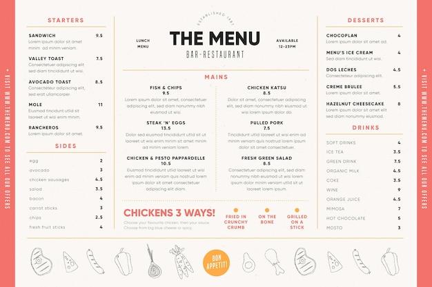 Menú de comida para plantilla de uso digital con ilustraciones