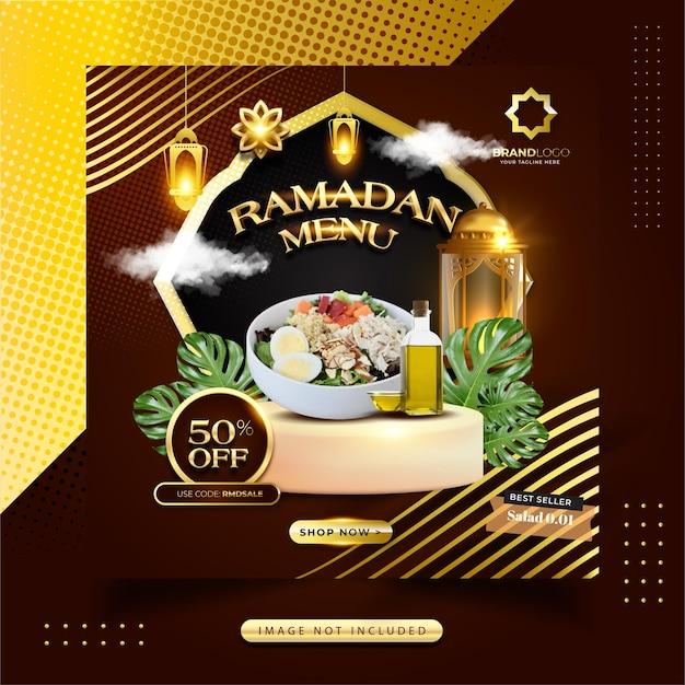 Menú de comida de ramadan kareem publicación en redes sociales