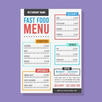 Menú de comida rápida con cuadros de texto coloridos.