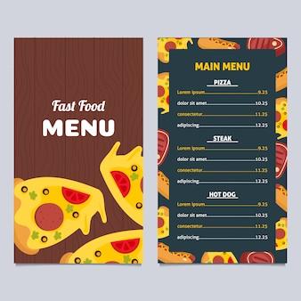 Menú de comida rápida con diseño de pizza