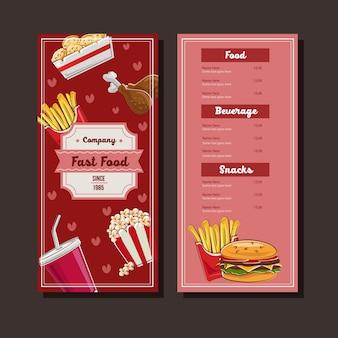 Menú de comida rápida en estilo doodle