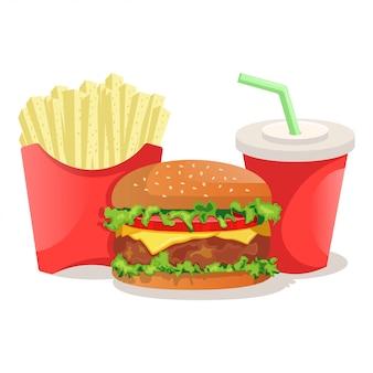 Menú de comida rápida, hamburguesas con papas fritas y coca cola