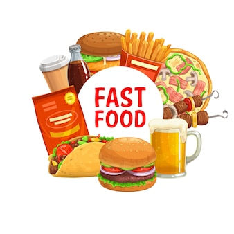 Menú de comida rápida de hamburguesas, pizza, tacos mexicanos