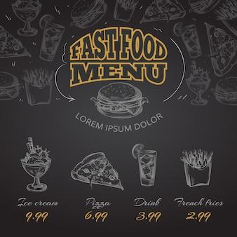 Menú de comida rápida de pizarra en ilustración de estilo dibujado a mano