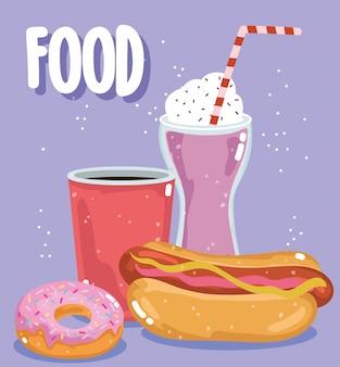 Menú de comida rápida restaurante insalubre batido de soda hotdog y donut ilustración