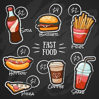 Menú de comida rápida de tiza para restaurante con precios.