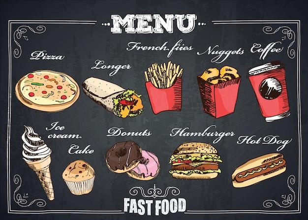 Menú de comida rápida.