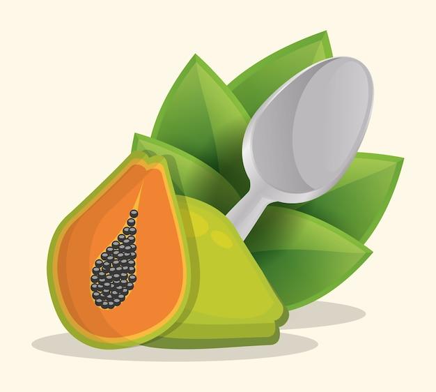 Menú de comida saludable papaya