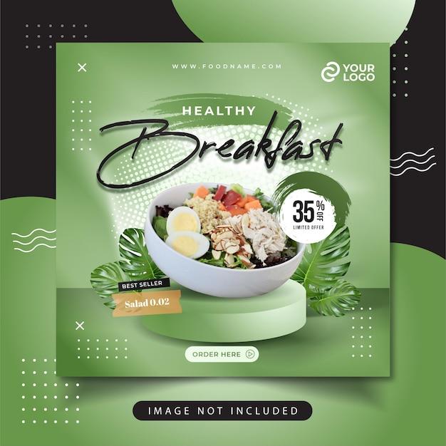 Menú de comida saludable publicación en redes sociales