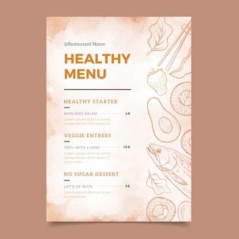 Menú de comida sana diseño acuarela