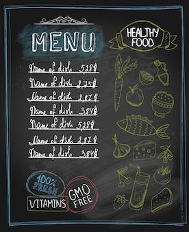 Menú de comida sana de pizarra con lugar para el texto. ilustración vectorial