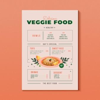 Menú de comida vegetariana en acuarela