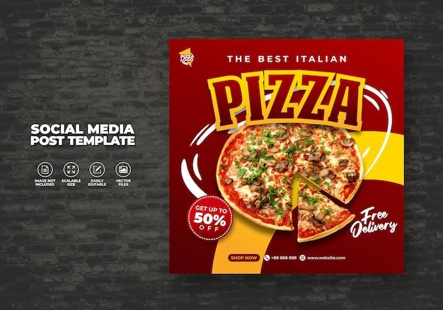 Menú de comidas y delicioso restaurante de pizza para plantilla de vector de medios sociales