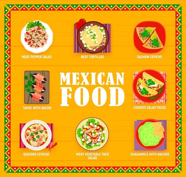 Menú de comidas de restaurante de cocina mexicana. ensaladas de carne pimiento, chorizo y tacos de verduras, tortillas de res, tapas de dátiles, ceviche de salmón y marisco, guacamole con nachos vector. platos de comida mexicana