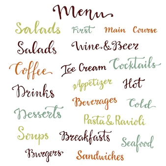 Menú conjunto de letras. postres, entrantes, bebidas, desayunos, cócteles y otras palabras colección. caligrafía de vector