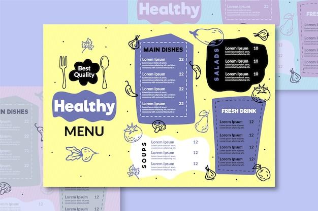 Menú creativo creativo de comida sana