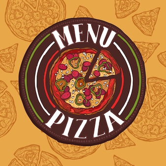 Menú de croquis de pizza