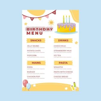 Menú de cumpleaños para niños