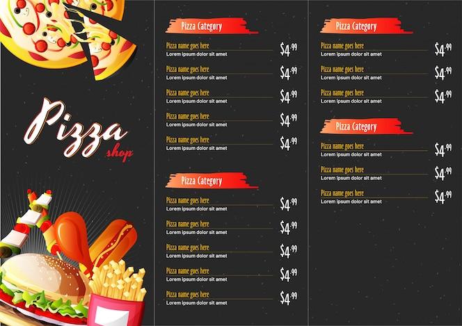Menú de comida de pizza para restaurante y cafetería.
