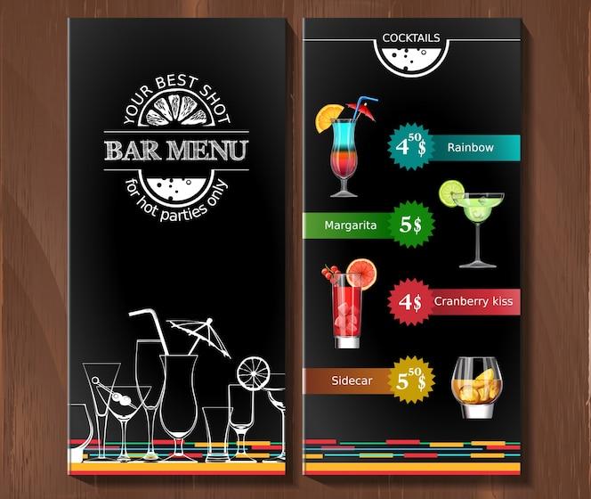 Menú de diseño para el bar de cócteles en el estilo corporativo.