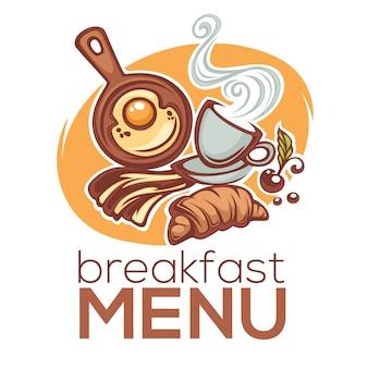 Menú de desayuno, ilustración de comida tradicional de la mañana