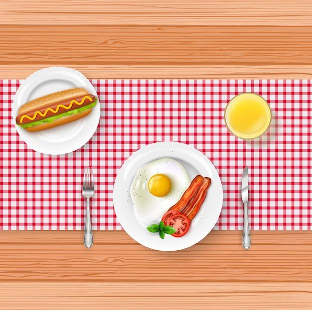 Menú de desayuno realista