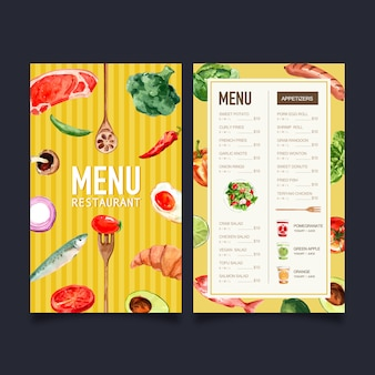 Menú del día mundial de la comida con brócoli, pescado, carne acuarela ilustración.