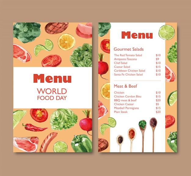 Menú del día mundial de la comida con brócoli, pimiento, remolacha acuarela ilustración.
