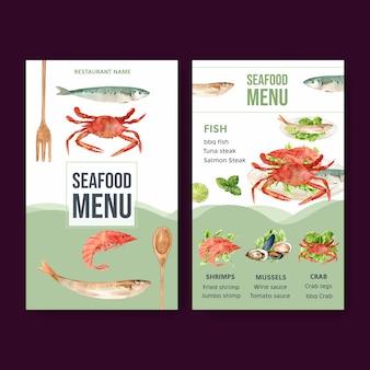 Menú del día mundial de la comida con camarones, carne de almeja, cangrejo, pescado ilustración acuarela.