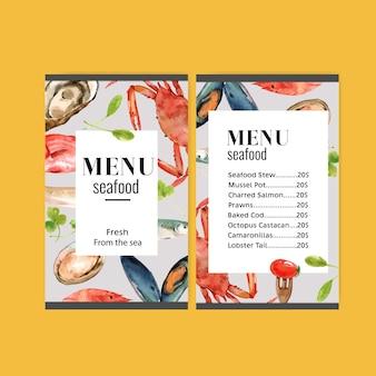 Menú del día mundial de la comida con carne de cangrejo, pescado, mejillón, tomate acuarela ilustración.