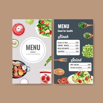 Menú del día mundial de la comida con ensalada, aguacate, roble verde acuarela ilustración.