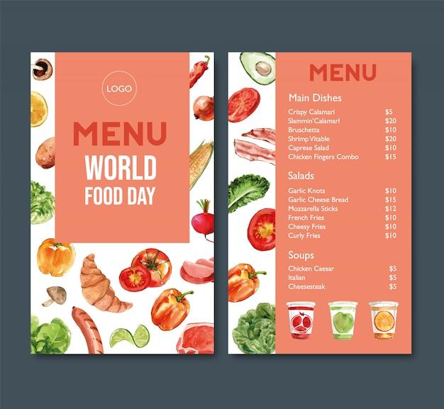 Menú del día mundial de la comida con tomate, pimiento, croissant ilustración acuarela.