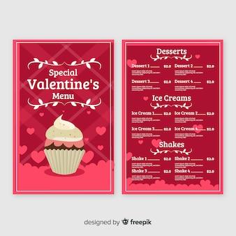 Menú día de san valentín cupcake