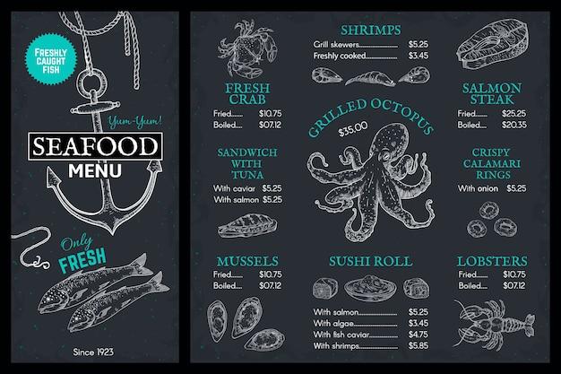 Menú de dibujo de mariscos. folleto de restaurante de pescado doodle, portada vintage con salmón cangrejo langosta