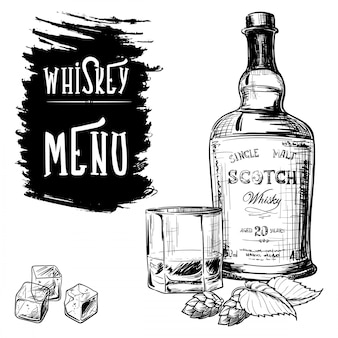 Menú diseñado para los negocios relacionados con el whisky