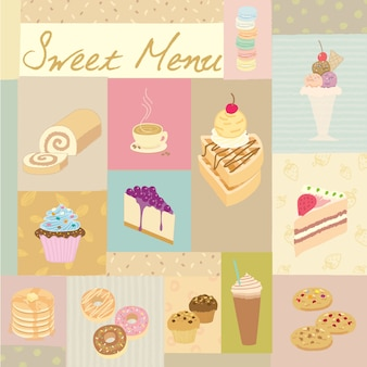 Menú dulce pastel