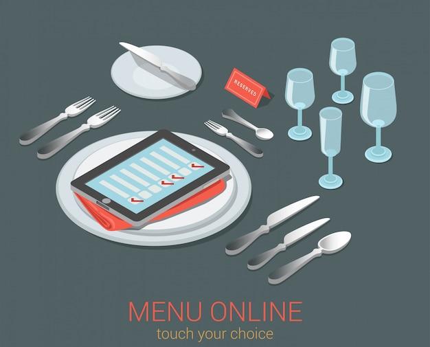 Menú electrónico dispositivo móvil menú comida asiento en línea pedido reserva café restaurante concepto isométrico plano lista de verificación de tableta de teléfono en plato vacío cubiertos de vidrio de cocina.