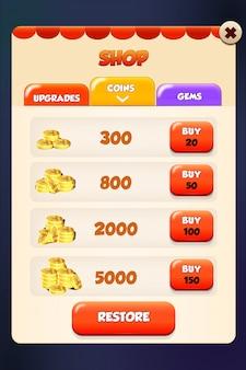 Menú emergente de la tienda market app y store inn.