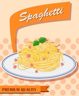 Menú de espaguetis en cartel.
