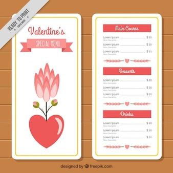 Menú especial con corazones y decoración floral para el día de san valentín