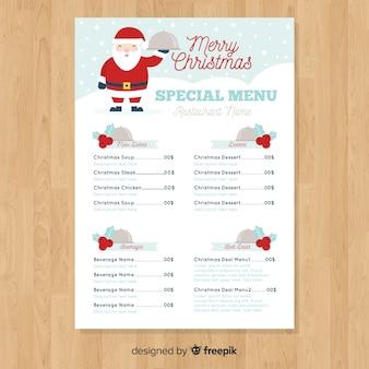 Menú especial navideño con santa claus
