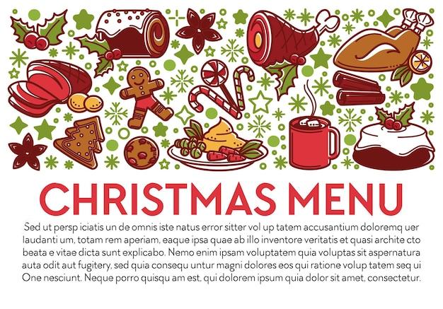 Menú para fiestas navideñas y celebraciones invernales. banner con texto, platos de carne y postres para ocasiones especiales. carne de res y pollo, taza de café o té, galletas de hombre de jengibre, vector en plano