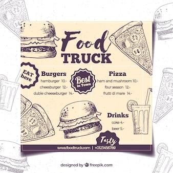 Menú de food truck dibujado a mano con estilo retro
