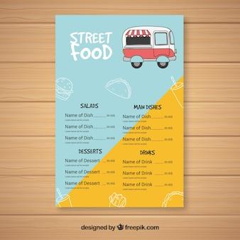Menú de food truck con estilo de dibujo a mano