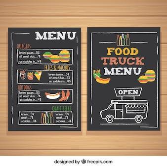 Menú de food truck con hamburguesas y perritos calientes