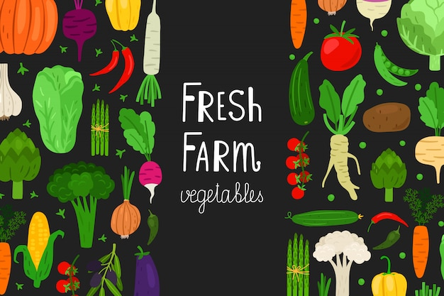 Menú fresco, plantilla de verduras. fondo de comida vegana