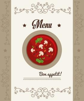 Menú de gastronomía y restaurante.