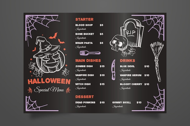 Menú de halloween dibujado a mano