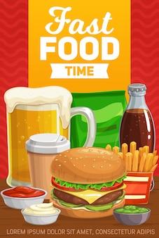 Menú de hamburguesas de comida rápida, bebidas y aperitivos.