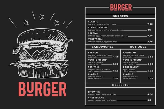 Menú de hamburguesas pizarra